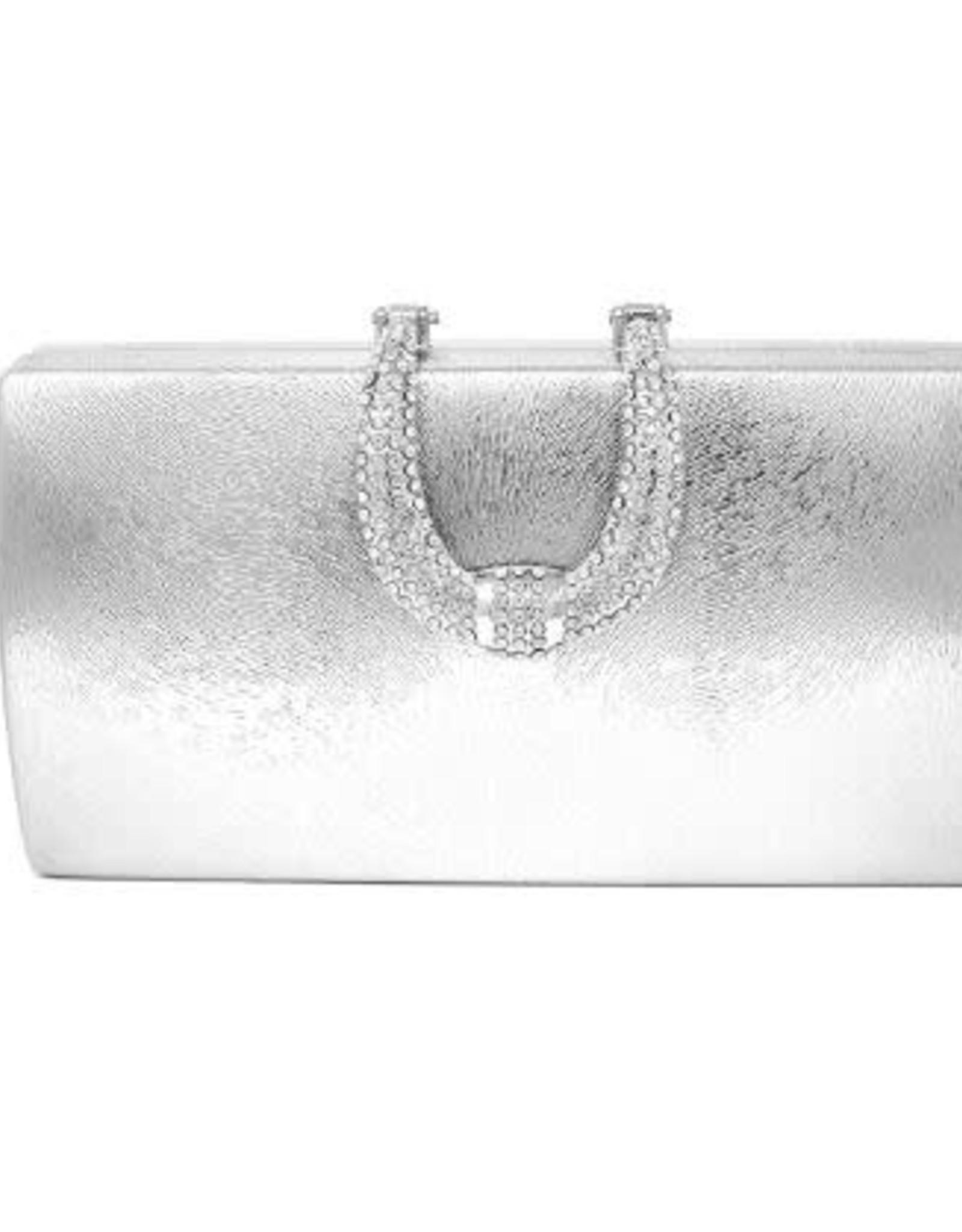 USJ Rhinestone Pave Buckle Detail Metallic Faux Leather Hard Case Clutch - Silver