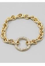 USJ Glass Stone Pave Hoop Linked Chain Bracelet - Gold