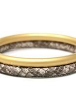 Animal Print Faux Leather Metal Bangle Bracelet Set