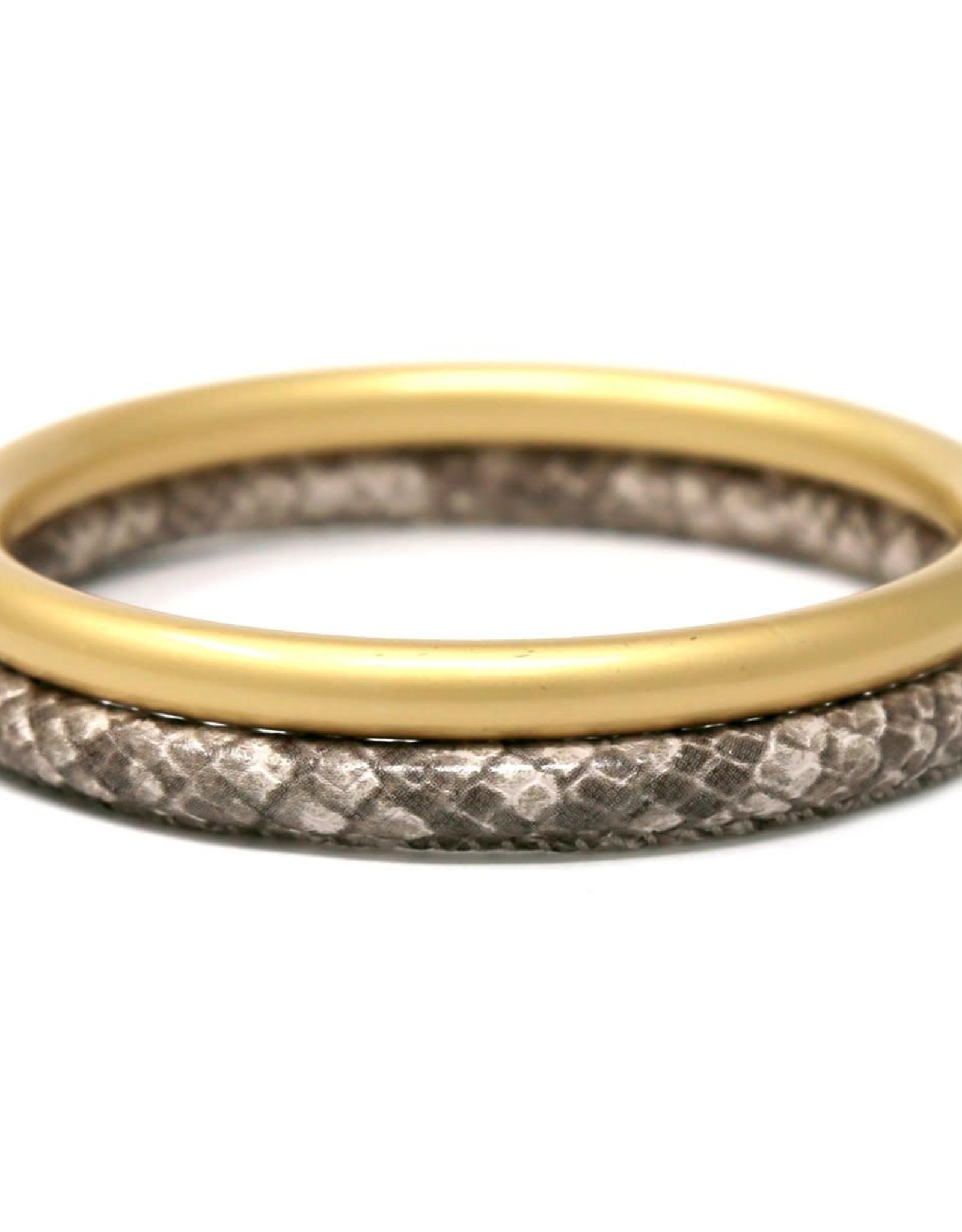 USJ Animal Print Faux Leather Metal Bangle Bracelet Set