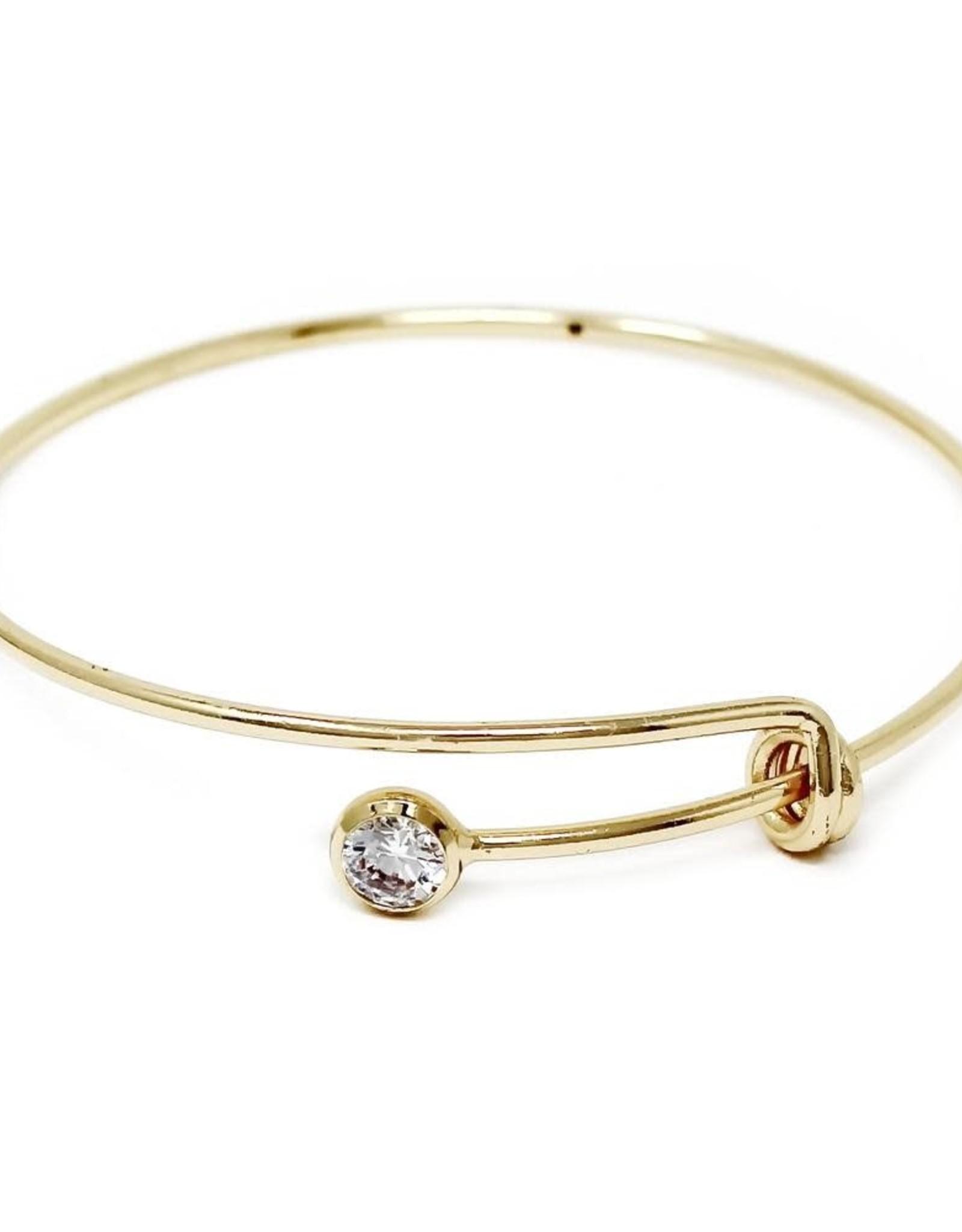 Cubic Zirconia Stone Sliding Spring Delicate Bangle Bracelet-Gold