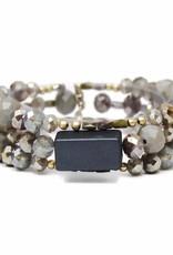 USJ Natural Stone And Glass Beaded Stretch Bracelet - Grey