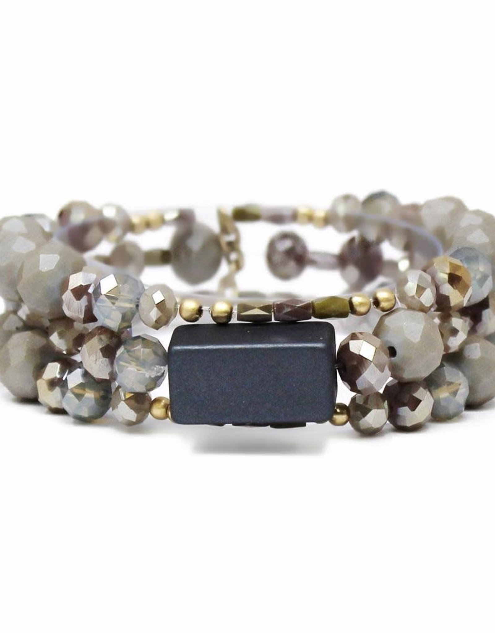 Natural Stone And Glass Beaded Stretch Bracelet - Grey