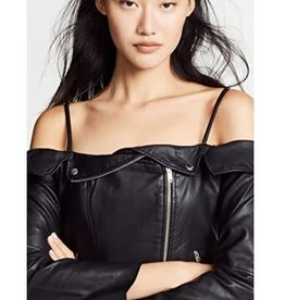 BB Dakota Off Shoulder Vegan Leather Jacket