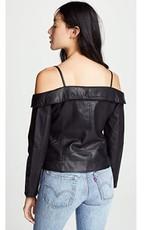 BB Dakota Off Shoulder Vegan Leather Jacket