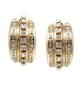 Rhinestone Pave Curved Stud Earrings - Gold Clear
