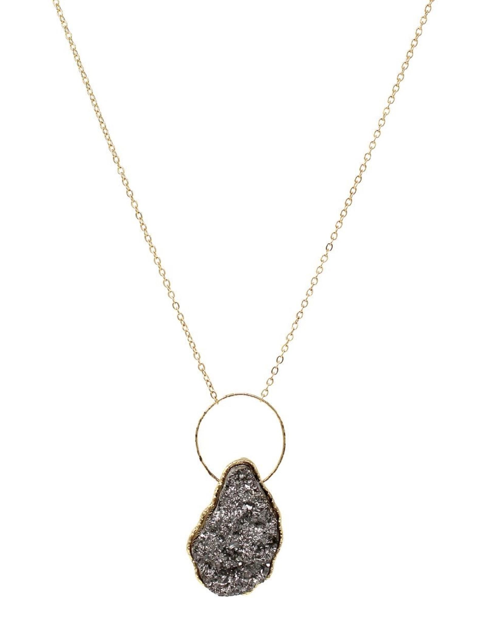 Skinny Hoop Druzy Stone Pendant Long Necklace - Hematite