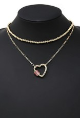 Heart Pendant Linked Chain & Ball Beaded Layered Necklace