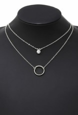Metal Hoop & Glass Stone Charm Layered Short Necklace - Silver