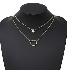 Metal Hoop & Glass Stone Charm Layered Short Necklace - Gold