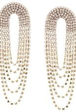 Rhinestone Pave Drape Statement Earring - Gold Clear