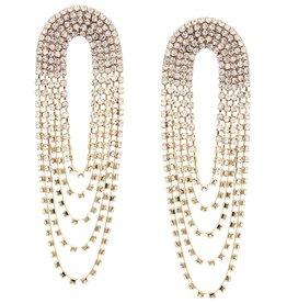 Rhinestone Pave Drape Statement Earring - Gold Clear