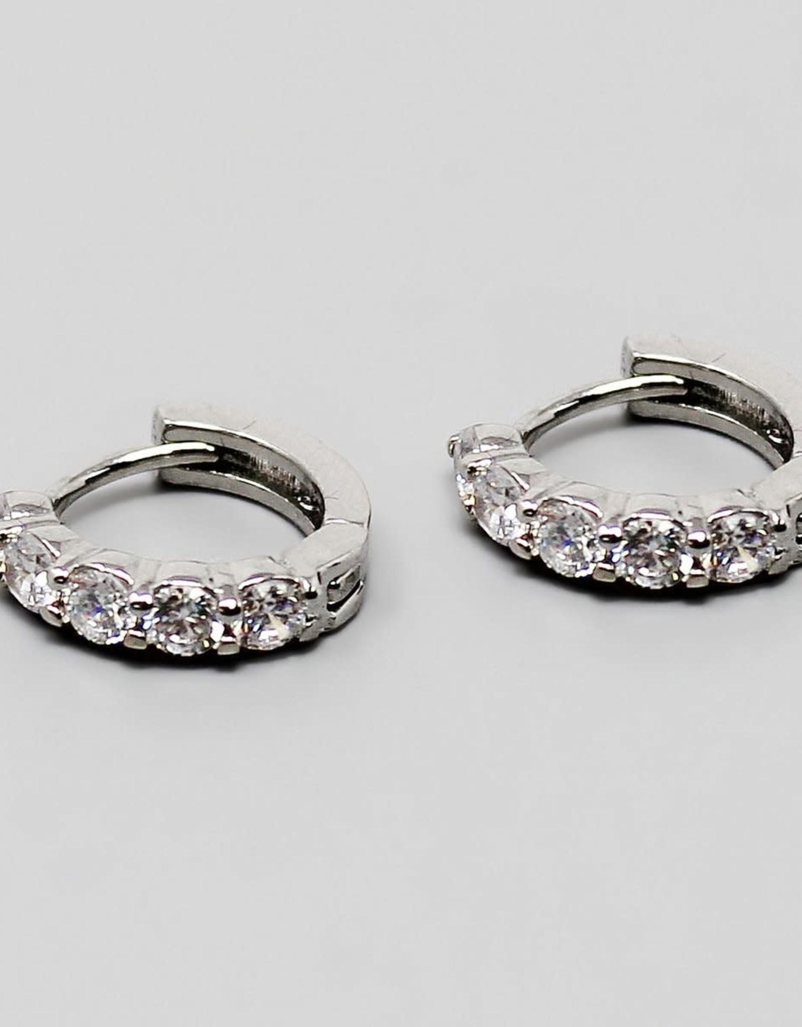Cubic Zirconia Pave Mini Hoop Earrings