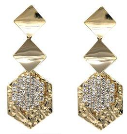 Cubic Zirconia Pave Geometric Shape Metal Layered Drop Earrings - Gold