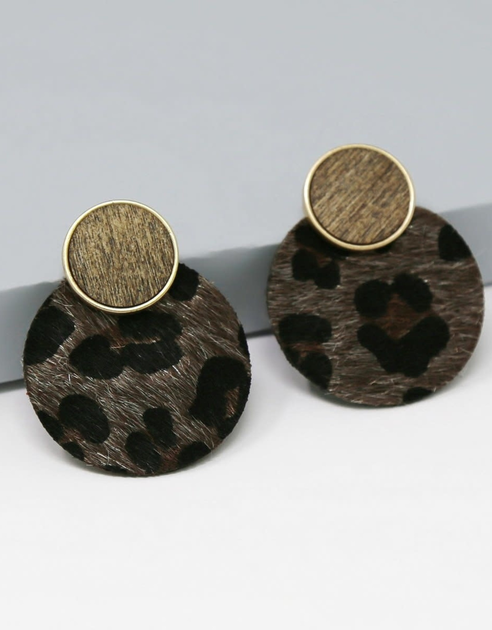 Faux Fur Animal Print Disc Earrings