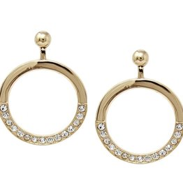 Glass Stone Pave Hoop Drop Earrings - Gold