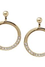 Glass Stone Pave Hoop Drop Earrings - Gold