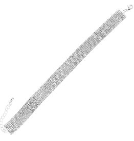 7 Row 2mm Rhinestone Pave Anklet - Silver