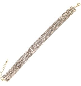 7 Row 2mm Rhinestone Pave Anklet - Gold