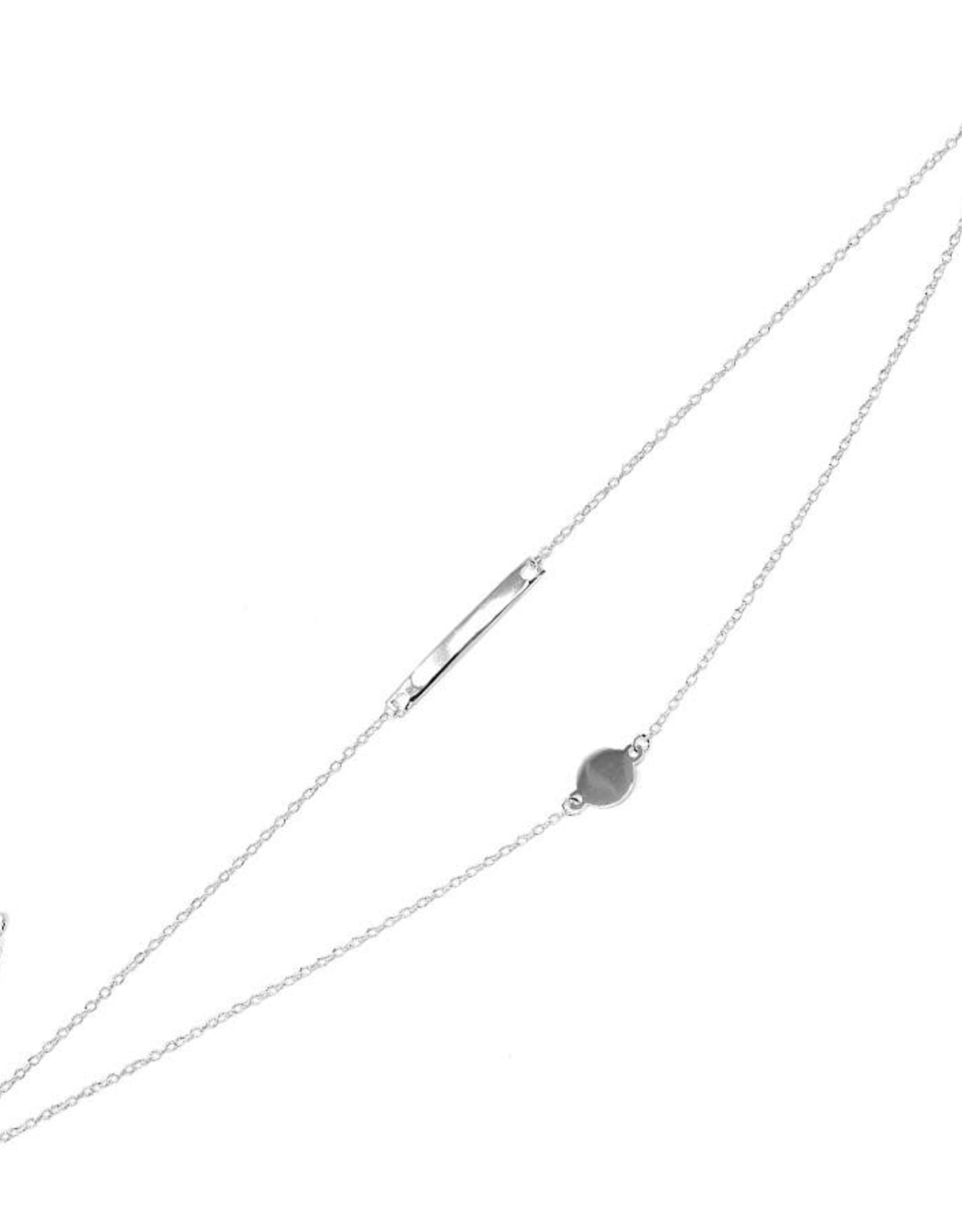 Disc With Bar Sterling Silver Double Layered Anklet