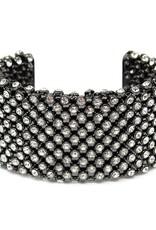 Glass Stone Mesh Statement Cuff Bracelet