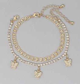 Rhinestone Pave Butterfly Charm / Curb Chain Bracelet Set