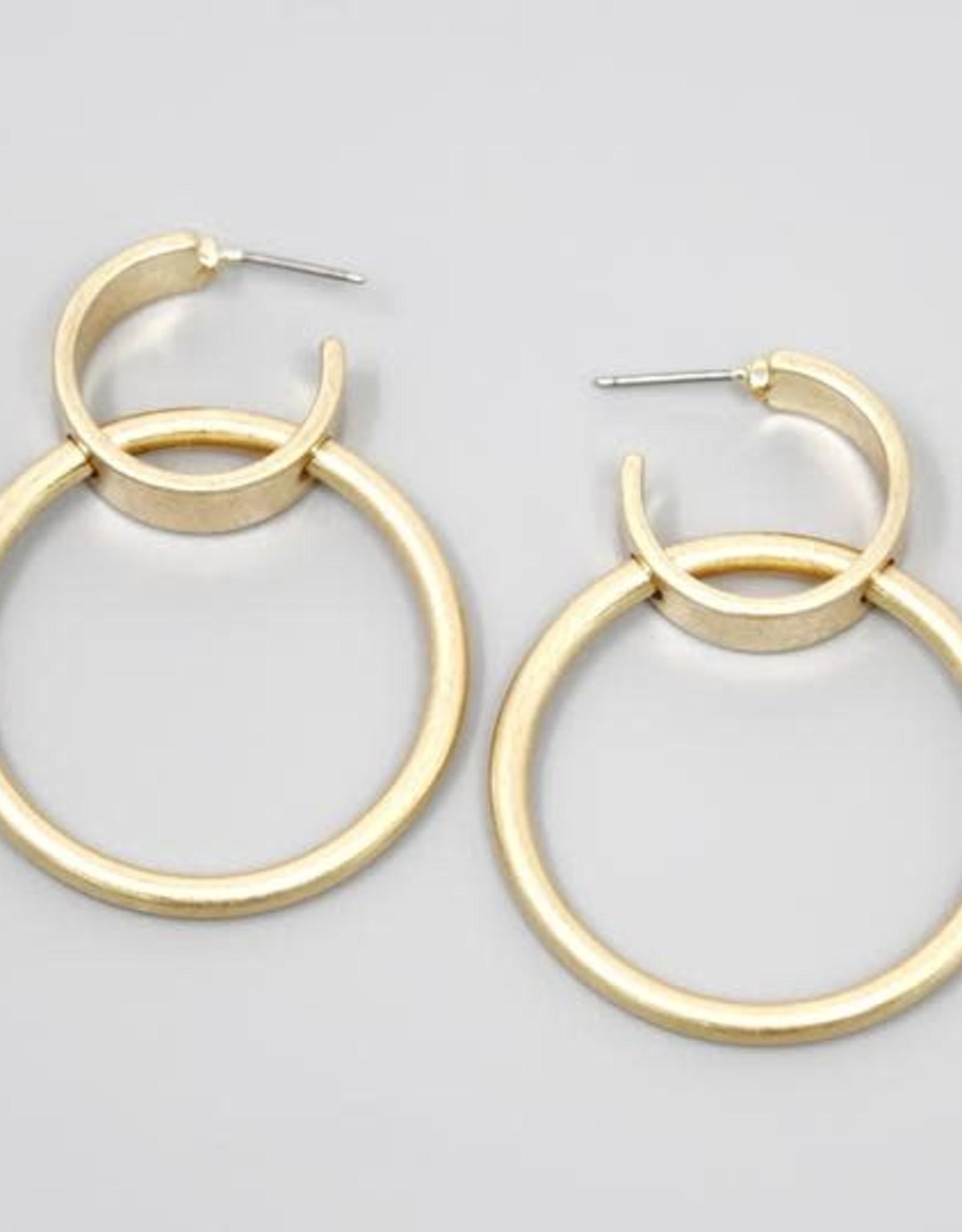 Double Hoop Drop Earrings - Worn Gold