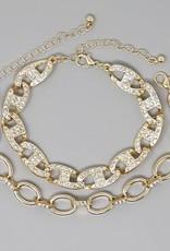 Glass Stone Pave Linked Chain Bracelet Set