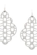 Lightweight Leather Cutout Drop Earrings - Grey