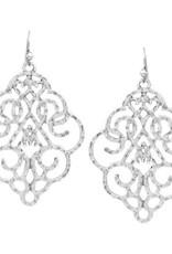 Textured Metal Filigree Drop Earrings - Worn Silver