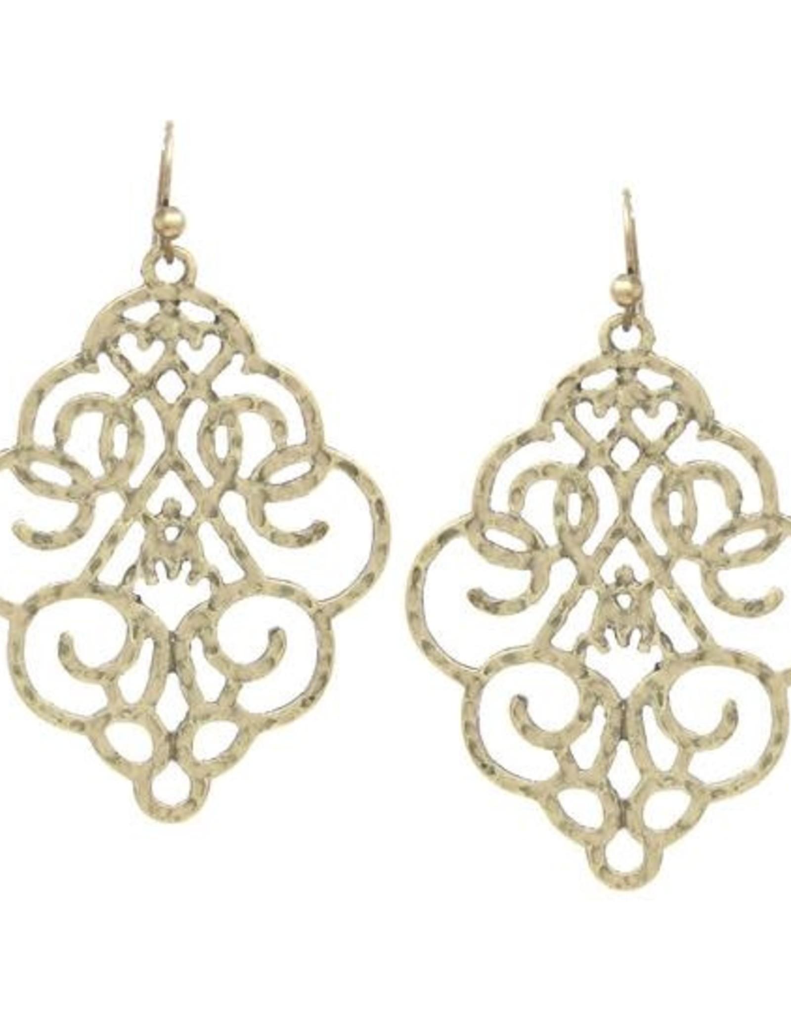 Textured Metal Filigree Drop Earrings - Worn Gold