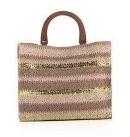 Metallic Straw Tote Rose