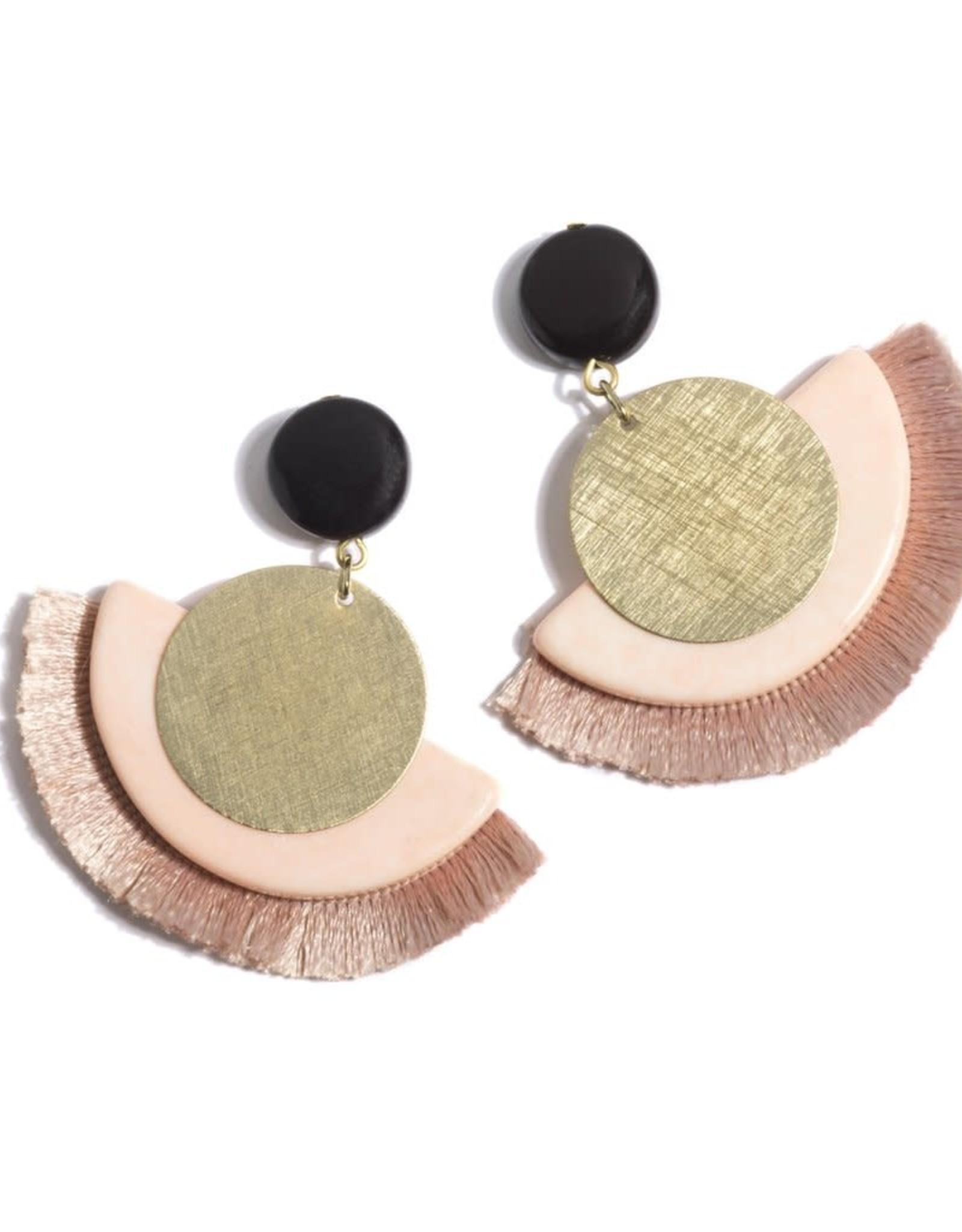 Blush/Gold Fringe Earring