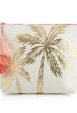 Metallic Gold Palm Tree Cosmetic Pouch