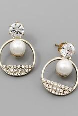 CZ Top Glass Stone Pave Circle Drop Earrings