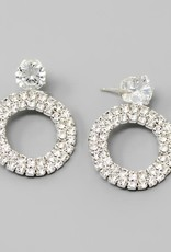 CZ Top Glass Stone Pave Hoop Drop Earrings