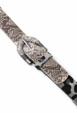 Leopard Print And Snake Skin Belt Buckle Magnetic Leather Bracelet