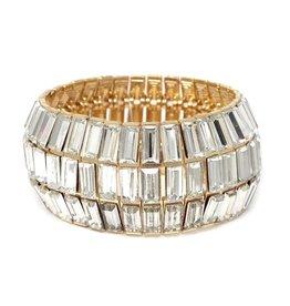 Rectangle Glass Stone Pave Wide Stretch Bracelet