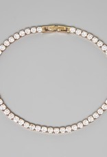Round Cut Cubic Zirconia Tennis Bracelet (3 mm) - Gold/Clear