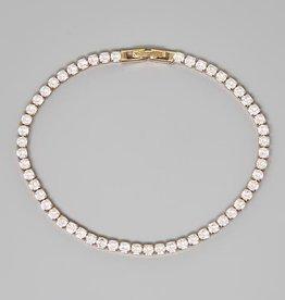 Round Cut Cubic Zirconia Tennis Bracelet (3 mm) - Gold/Clear