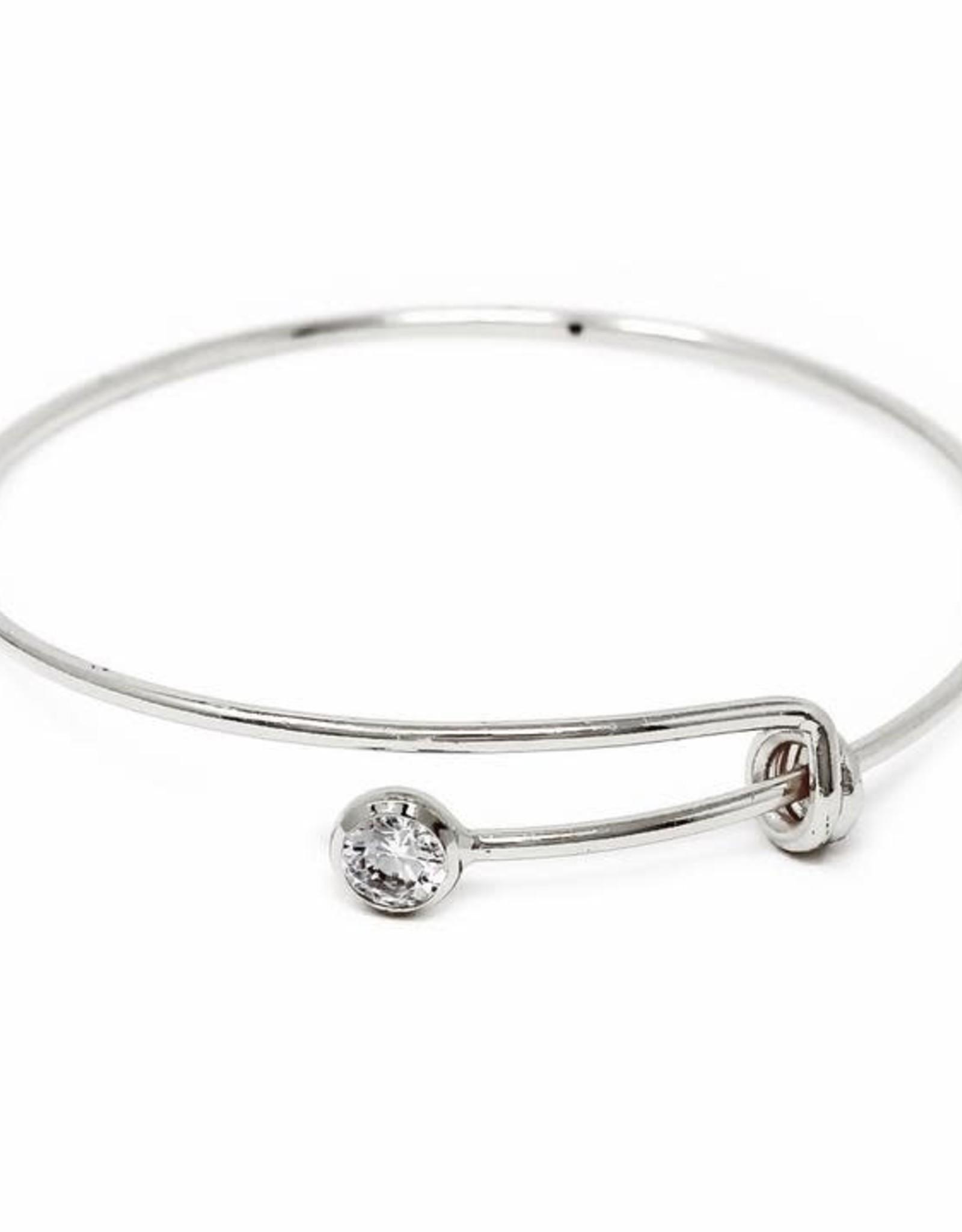 USJ Cubic Zirconia Stone Sliding Spring Delicate Bangle Bracelet - Silver
