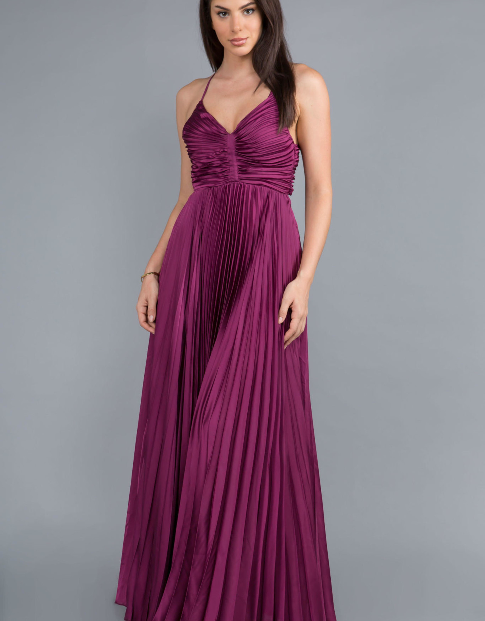 Pleated Gown Berry