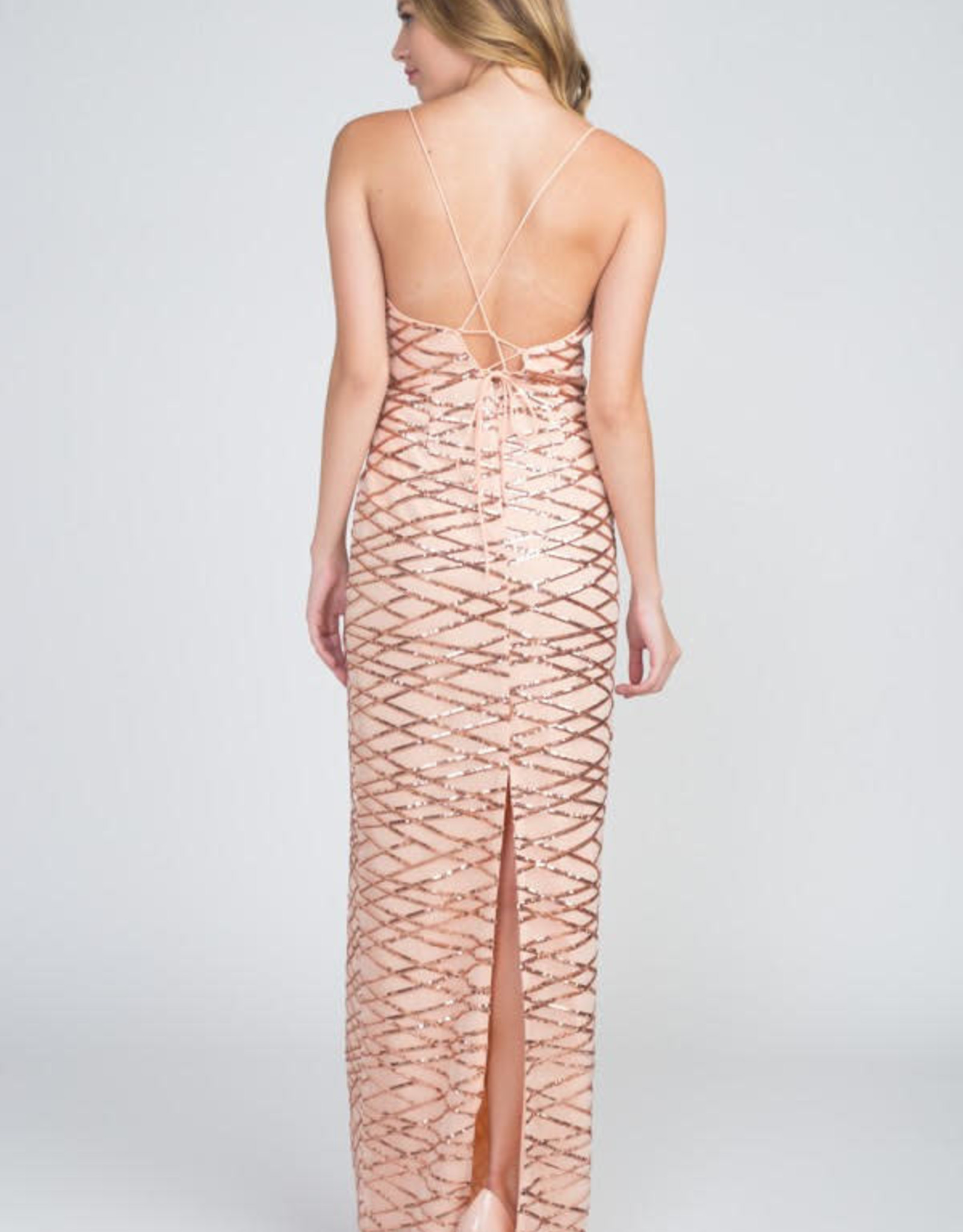 Rose Gold Sequin Illusion Gown