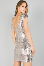 Rose Gold Allover Sequin Mini Dress
