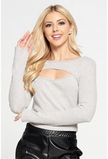 ReneeC Ribbed Knit Cut-Out Front - H Grey
