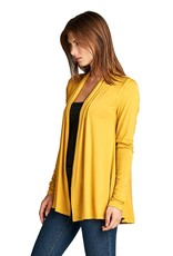 ReneeC Bamboo Jersey Knit Cardigan Mustard