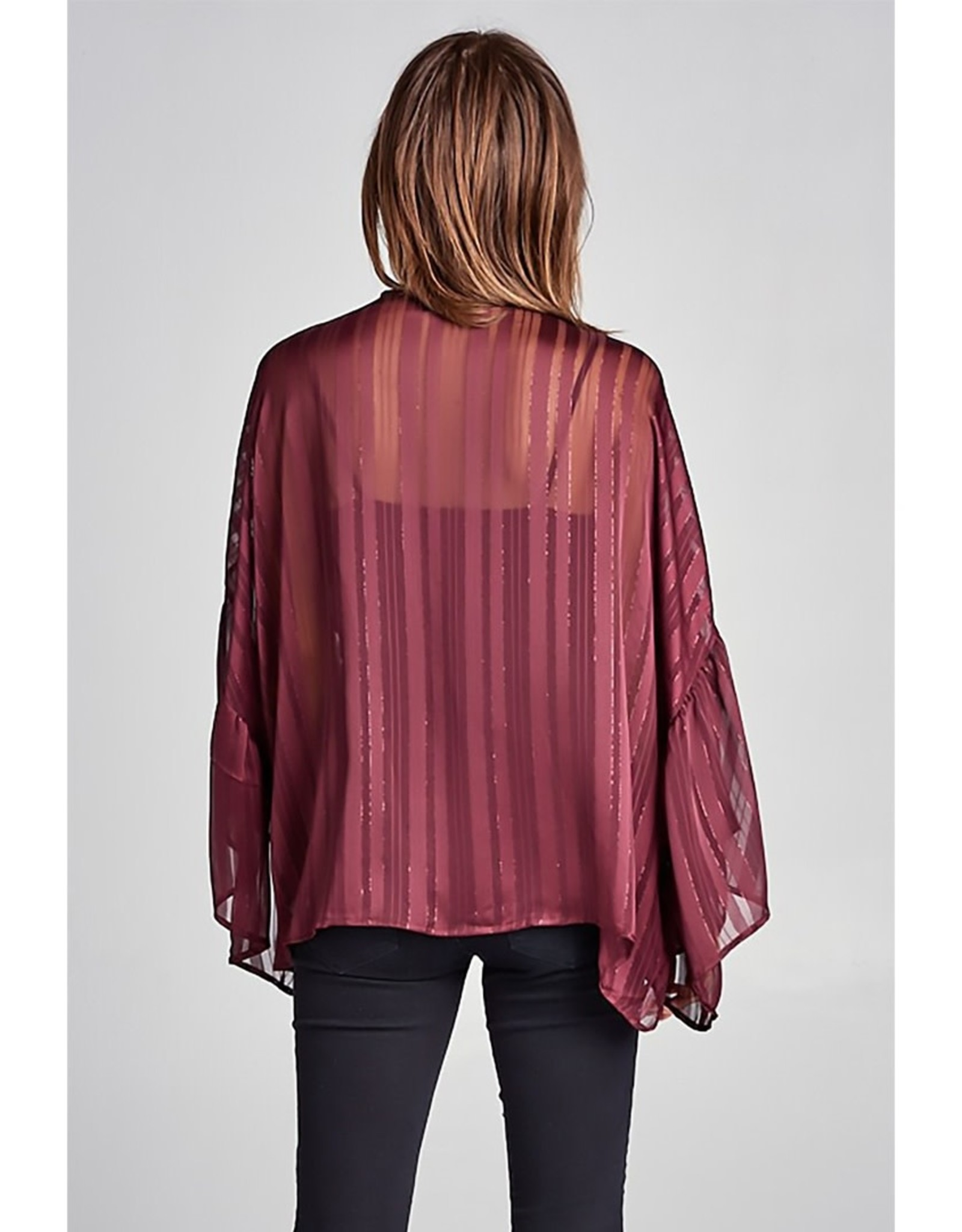 ReneeC Sheer Metallic Striped Kimono