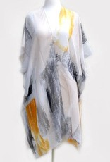 Abstract Paint Print Kimono Orange