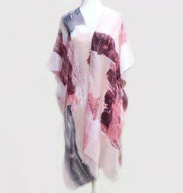 Abstract Paint Print Kimono Pink