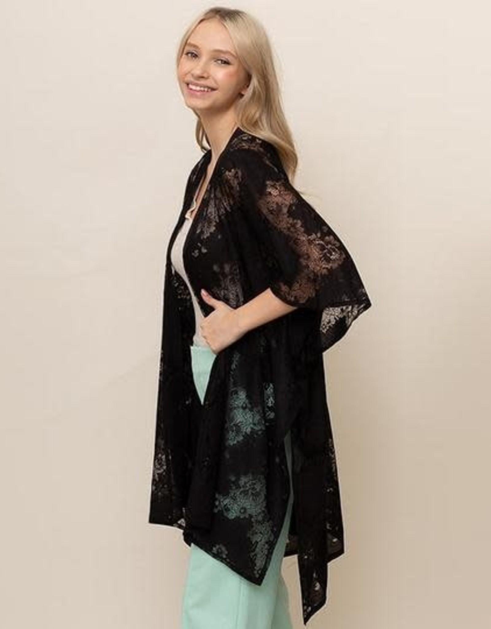 Floral Lace Kimono Black